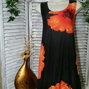 Vibrant Orange Blooms on Rich Brown Dress